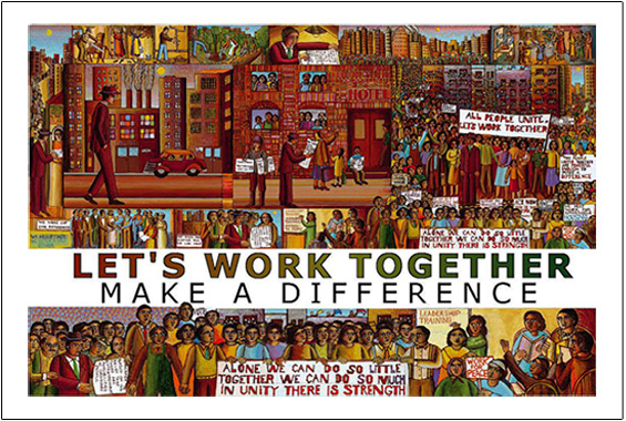The poster of Power to the People is for sale from Eyekons Gallery, www.eyekons.com. John August Swanson's poster of Power to the People is a testament to his belief in community and the power, support and love found in working together.