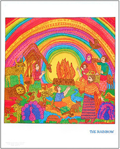 The poster of The Rainbow by John August Swanson shows Noah and his family celebrating the end of the flood as God sets a rainbow in the clouds as a sign of His new covenant with mankind as told in Genesis 9. The John August Swanson poster of The Rainbow is for sale from Eyekons Gallery, www.eyekons.com