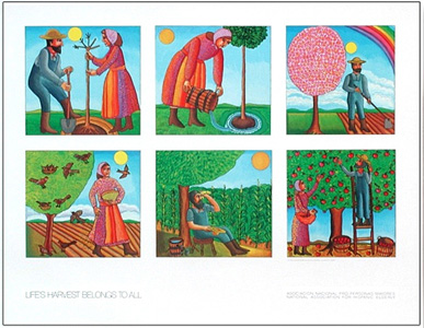 The poster Tree Planting by John August Swanson is for sale from Eyekons Gallery. John Swanson beautifully illustrates the life cycle of a tree, from the time it is planted, to the harvest of its fruit.