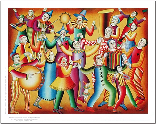 The poster Waltz of the Clowns by John August Swanson is for sale from Eyekons Gallery. John Swanson portrays a colorful ensemble of clowns dancing and making music in sheer joy and celebration.