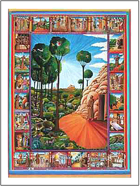 The poster of St. Francis of Assisi by John August Swanson is for sale from Eyekons Gallery, www.eyekons.com. St. Francis of Assisi poster by John August Swanson is a beautiful visual narrative of the life of this much-loved saint. In the large center panel Francis stands at the door of his cave surrounded by his animal kingdom. Miniatures surround the main image, illustrating the life of St. Francis.