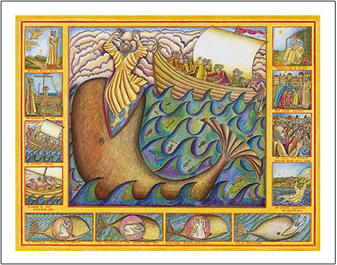 John August Swansons poster of Jonah and the Whale wonderfully illustrates the story Jonah being eaten by the whale, spending three nights in its belly and then being tossed up on shore. Jonah then heeds Gods call and goes to reform Nineveh.