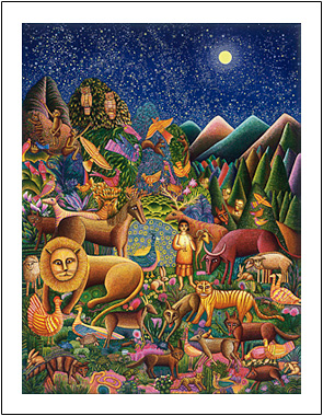 "John August Swanson Peaceable Kingdom poster is for sale from the Eyekons Gallery, www.eyekons.com. John August Swansons popular image of Peaceable Kingdom illustrates the passage from Isaiah 11, ""The wolf will live with the lamb, the leopard will lie down with the goat . . . and a little child will lead them."" John Swanson uses his vision and printmaking skill to create a truly original interpretation of this timeless passage."