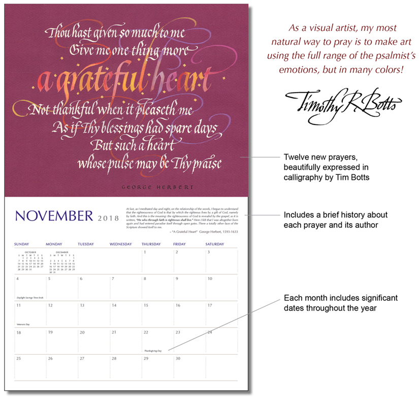 Prayer - The Poetry of the Soul - Prayers through the Ages - 2018 Calendar by Calligrapher Tim Botts