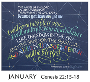 Morning Light – The Good News of the Gospel - 2019 Calendar by Tim Botts - Jan - Genesis 22-15-18 – Calligraphy by Tim Botts – available at www.eyekons.com