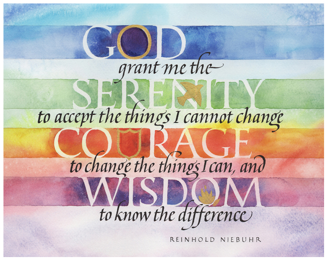 "Timothy R. Botts original calligraphy of the Reinhold Niebuhr ""Serenity Prayer"" from the Tim Botts 2018 Prayer Calendar, is for sale in the Eyekons Gallery at Eyekons.com. Tim Botts expressive calligraphy beautifully illustrates Reinhold Niebuhr's inspiring ""Serenity Prayer"" – ""God, grant me the serenity to accept the things I cannot change, the courage to change the things I can, and the wisdom to know the difference."" Eyekons Gallery at Eyekons.com is an online source for Tim Botts original calligraphy, fine art prints, posters and greeting cards."