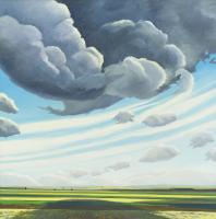 Nobleford, a painting by Chris Stoffel Overvoorde from his 1993-1994 Prairie Vision series