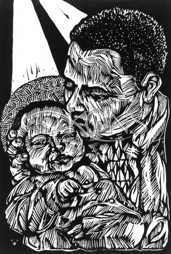 Joseph's Son, a linocut - woodcut by Steve Prince