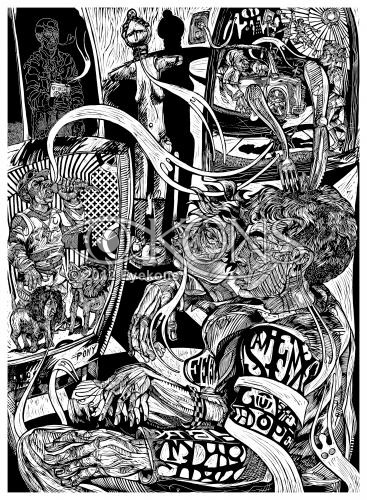The Prodigal Appetite: Halloo 1, a linocut  / woodcut by Steve Prince from his Prodigal Son Triptych.